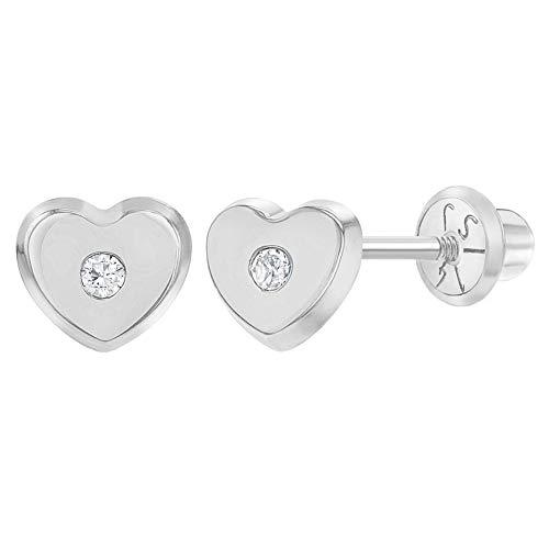 Pendientes de oro blanco de 14 quilates con circonita cúbica transparente en forma de corazón para bebés y niñas