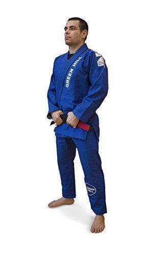 GREEN HILL Kimono da Brazilian Jiu Jitsu Brasiliano BJJ GI PRO OMOLOGATO (Blu, A4)