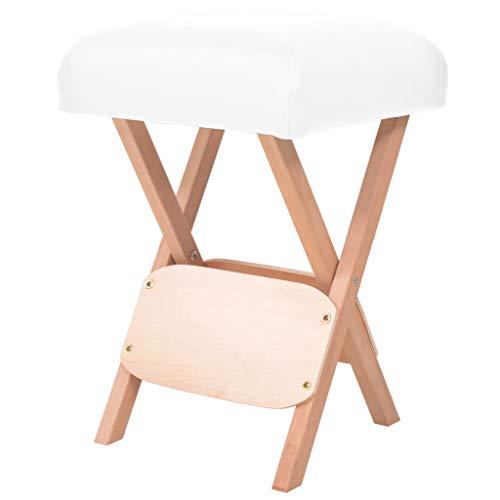 vidaXL Massage Hocker Dickem Sitz Klapphocker Arbeitshocker Klappstuhl Hocker Sitzhocker Polsterhocker für Massageliege Therapieliege 12cm Weiß