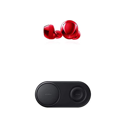 Samsung Galaxy Buds+ Plus, True Wireless Earbuds, Red and Samsung Wireless Charger Duo Pad, Fast Charge 2.0, Black (US Version)
