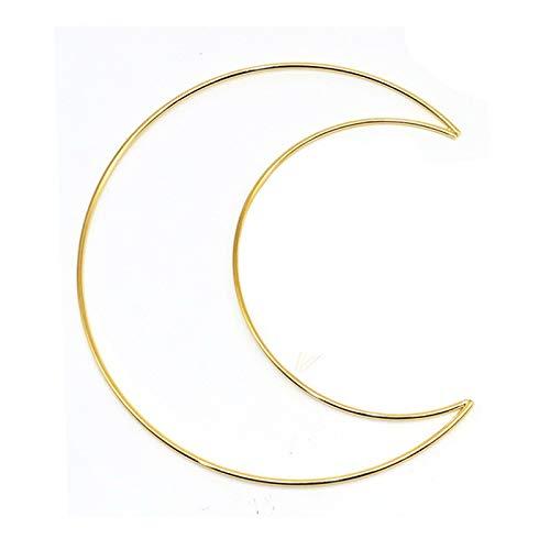 BELUAPI Anillos de atrapasueños de oro, aros de metal, macramé, anillos de luna dorada, para atrapasueños macramé, colgar en la pared, manualidades y decoración del hogar