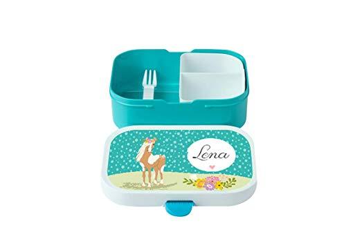 wolga-kreativ Brotdose mit Namen türkis Pferd Rosti Mepal Obsteinsatz für Mädchen Jungen Lunchbox Bento Box personalisiert Brotbüchse Brotdosen Kindergarten Schule