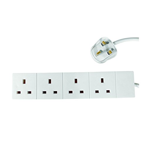 pro elec 5 m 4 Gang Power Strip Extension Cord Mains Plug - Wh