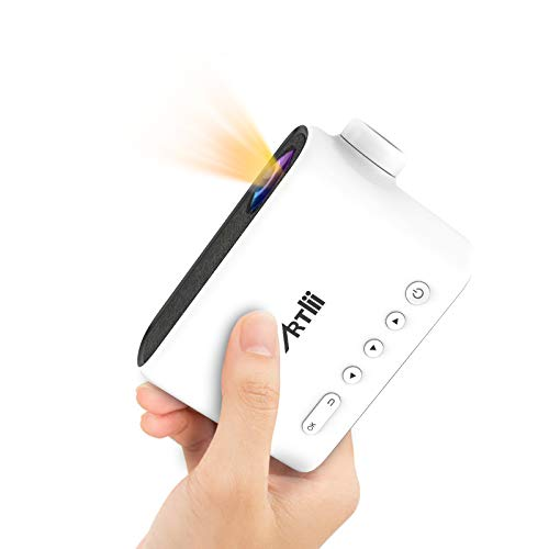 Portable Projector with Battery, Artlii Q Mini Pico Projector for Outdoor Movies and Cartoons, Neat Projector, TV Stick, PS4, HDMI, USB