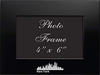 NYC, New York-4x6 Brushed Metal Picture Frame-Black