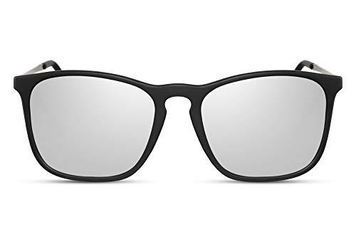 Cheapass Occhiali da Sole Classici Opachi Neri con Occhiali Rettangolari da Sport Specchiati Argento UV400 da Uomo