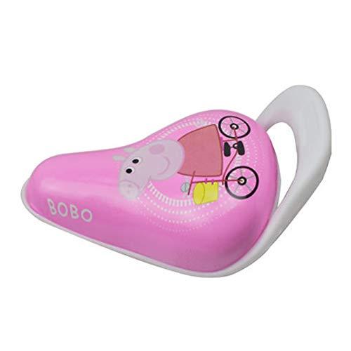 VARIJOY Sillín de bicicleta suave de moda, acolchado pequeño, espuma viscoelástica ampliada, asiento especial para bicicleta para niños con asa (rosa, patrón de Peppa Pig)