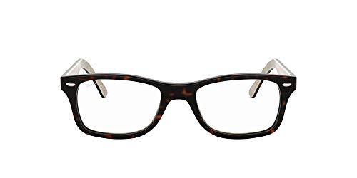 Ray-Ban RX5228 Square Prescription Eyeglass Frames, Dark Tortoise On Beige Texture/Demo Lens, 53 mm