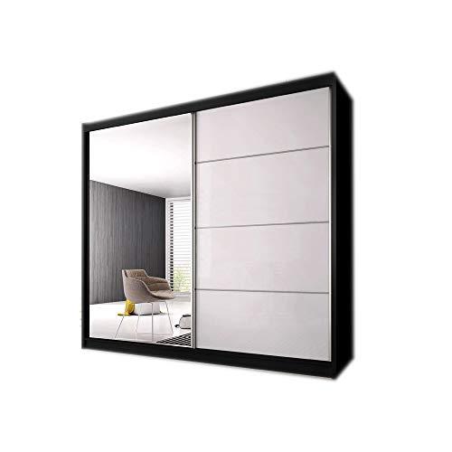 MOEBLO Kleiderschrank Schwebetürenschrank mit Spiegel 2-türig Schrank mit vielen Einlegeböden und Kleiderstange Gaderobe Schiebtüren BxHxT 233x218x61 - K006 (Schwarz + halb-Hochglanz + Spiegel)
