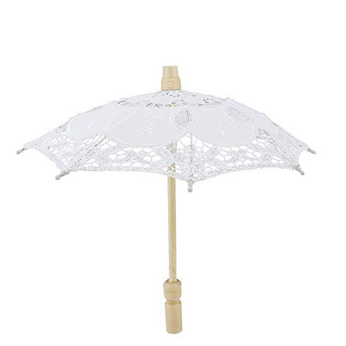 Paraguas de Novia - Paraguas de sombrilla Hecho a Mano con Bordado de algodón de Encaje para Suministros de Boda(Blanco)