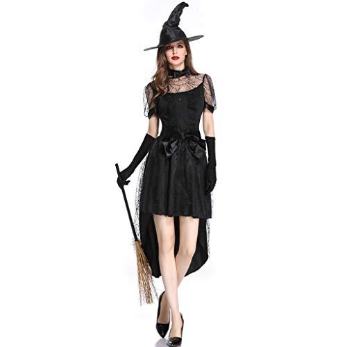 Storerine Damen Halloween Rock Hut Handschuhe Dreiteilig Hexenkleid HexenkostüM Hexe Damen KostüM Fasching Halloween Hexenkleid HalloweenkostüM BöSe Zauberin FaschingskostüM