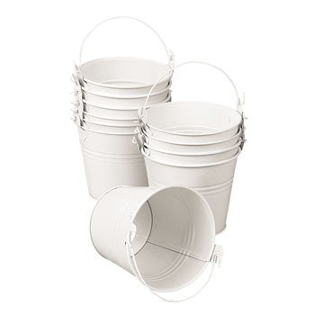 12 Mini White Pails with Handles