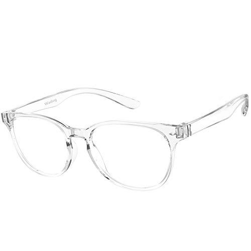 WADOG ブルーライトカットメガネ PCメガネ 度なし 超軽量 クリアメガネ UVカットパソコン用メガネ おしゃれ ウェリントンタイプ 紫外線カット ファッション メガネ 小顔効果 透明クリアレンズ メンズ レディース伊達メガネ 男女兼用 トランスペアレントカラー