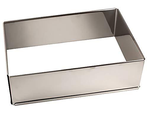 Lares - Backform/Backrahmen - aus rostfreiem Edelstahl - eckig, extra hoch, in Karton - verstellbare Größe - Made in Germany