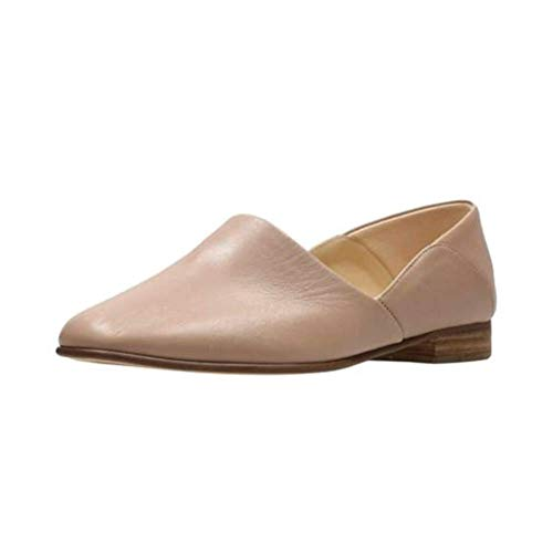 CLARKS Womens Pure Tone Loafer, Nude Leather, Size 6.5