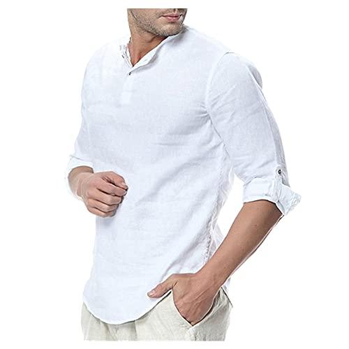 EVAEVA Camisas de Mangas Medianas para Hombre con Cuello Redondo Polo de Verano de Color sólido Tops BáSica Clásica Camisetas Casual Transpirable Hombres Ligeros Camiseta Diario Correr