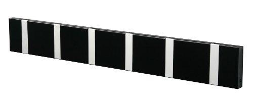 LoCa Garderobe Knax 6 schwarz (Haken klappbar Alu) Garderoben-Leiste Kleiderhaken Flur modern Garderobenpaneel