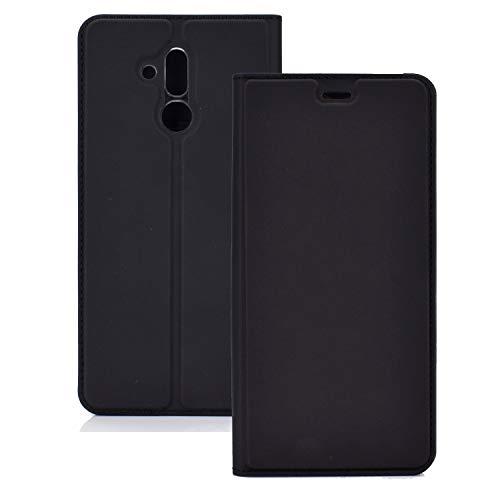 ZTH Funda Magnetic TPU + PU Magnetic TPU + PU para Huawei Mate 20 Lite, con Ranura para Tarjeta y Soporte (Negro) (Color : Black)
