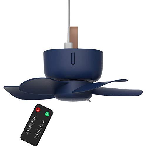LINMAN 5V Control Remoto Tiempo USB Ventilador de Techo Refrigerador de Aire 4 Ventilador de Velocidad para Acampar de Acampar Gadgets USB (Color : Blue)