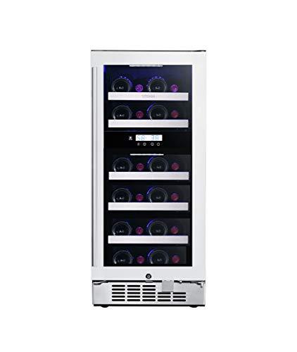 Titan 15 inch 23 Bottle, Seamless Stainless Steel Door, Built in Dual Zone Wine Cooler, Roller Glide Wooden Shelves, Temp Memory, Door-Left-Open&High Temp Alarm