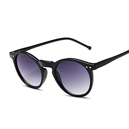 Tanxianlu Gafas De Sol Redondas Vintage para Mujer, Gafas De Sol De diseñador de Marca Retro, Espejo Degradado marrón para Hombre, Gafas De Sol clásicas con Remache De Ojo de Gato,A