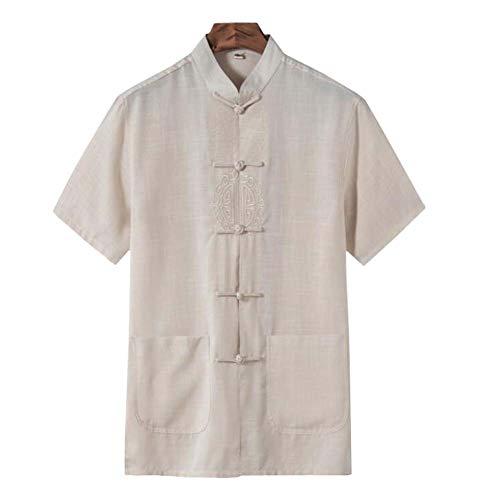 Chinesisches Kung-Fu-Hemd Tang-Anzug Lässiges Kurzarm-T-Shirt für Männer, Beige