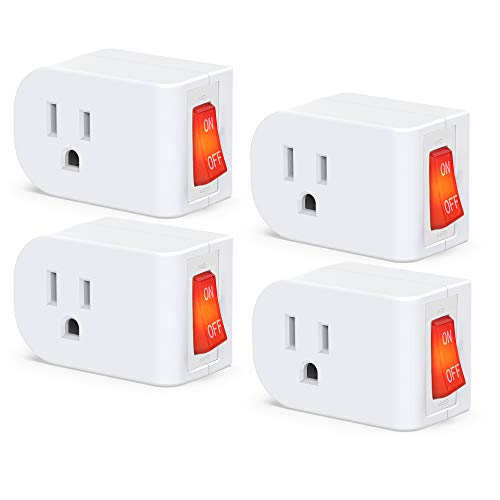 JACKYLED 3 Prong Grounded Outlet Adapter with ON OFF Switch and Red Indicator, ETL Listed White Receptacle Single Port Power Outlet Switch, Electrical Wall Tap Adapter for Home and Office, 4 Pack