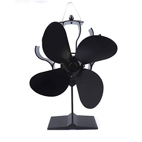 Vedspisfläkt värmepåverkad 4-bladspisfläkt Eco värmedriven vedspisfläkt för gas/pellets/ved/vedpinnar, öppen spis,Black,B
