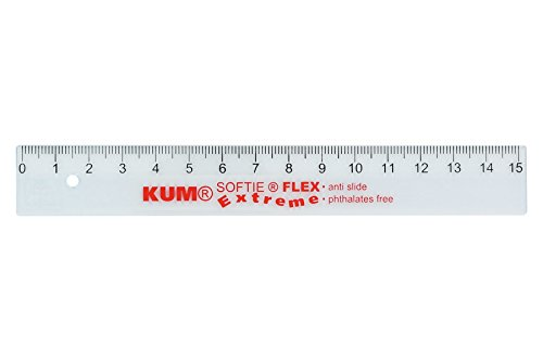 KUM AZ225.09.19-T Lineal L1 Softie Flex Extreme, flexibles Material, 1 Stück, 15 cm, klar