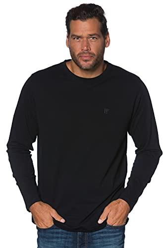 JP 1880 Herren L-8XL bis 8XL, Langarmshirt, Sweatshirt mit Logo-Stickerei, Basic, Rundhals, Regular Fit, Baumwolle schwarz 4XL 702559 10-4XL