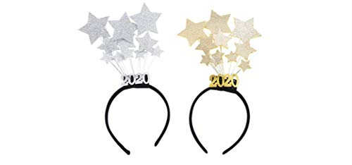 2 Pack 2020 Sequins Star Headband Happy New Year Celebration Dress Up Show New Year Decoration Gold and Silver