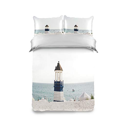 Pac Mac White Lighthouse Duvet Cover Set Kids Bedding Set Comforter Cover Set Twin Size (100% Peach Skin Velet on The Front + 100% Cotton on The Back)