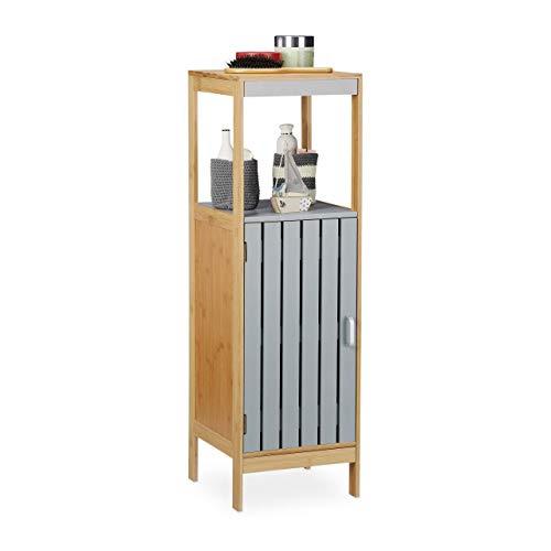 Relaxdays badkamerkast, 4 planken, in hoogte verstelbare inzetstukken, bamboe, MDF, badkamerrek HxBxD: 96,5 x 30 x 30 cm, natuur/grijs