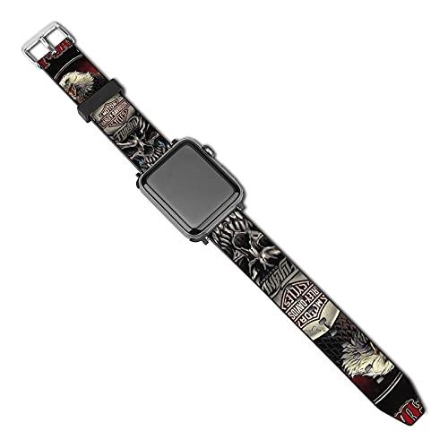 Harley Davidson Correa de reloj de cuero de repuesto para reloj inteligente para mujer y hombre para iWatch Series 5/4/3/2/1/SE (38mm/40mm)