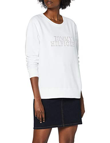 Tommy Hilfiger Christa Relaxed C-nk Sweatshirt Suéter, Blanco (White), S para Mujer