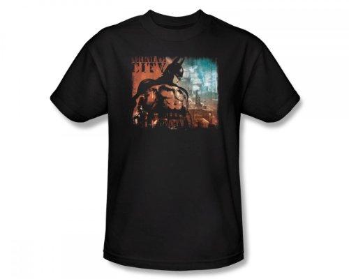 Batman: Arkham City - Ciudad Knockout Slim Fit Camiseta adulta En Negro, XX-Large, Black