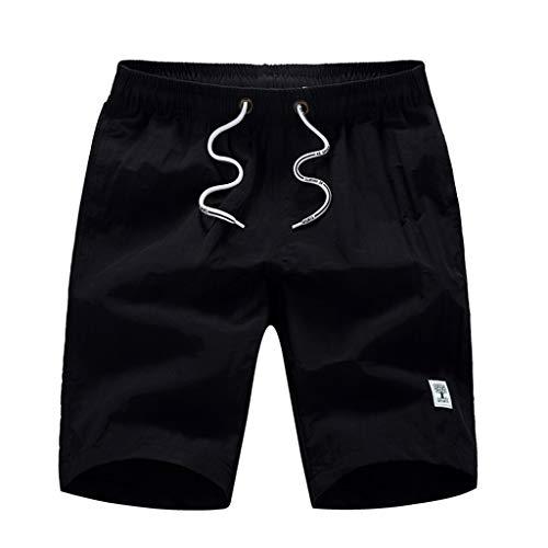 iYmitz Herren Boardshorts Beiläufige Mode Rein Farbe Strandtasche Verstellbarem Tunnelzug Schwimmen Lose Kurze Hosen Badeshorts