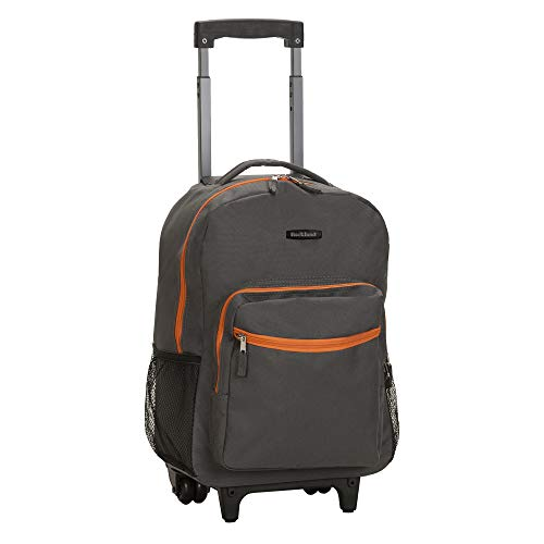 Rockland Double Handle Rolling Backpack, Charcoal, 17-Inch