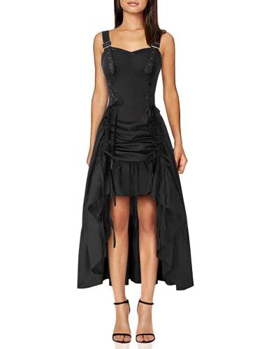Women Steampunk Pirate Costume Gothic Victorian High-Low Ruffled Sleeveless Dress 2XL Black