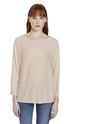 TOM TAILOR Damen Pullover & Strickjacken Schlichter Pullover Soft Vanilla,L,23304,3000
