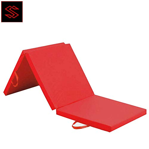 SSAN Tri Folding Exercise Yoga Mat Fitness Pilates Physio Crash Water Proof Gym Workout Camping Non Slip 2