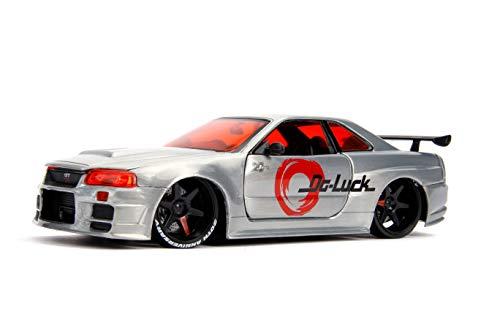 2002 Nissan Skyline GT-R (BNR34) Raw Metal JDM Tuners Jada 20th Anniversary 1/24 Diecast Model Car by Jada 31085