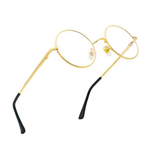 RANHUU - Gafas para ordenador con marco de metal redondo, estilo John Lennon, color azul, Dorado (Lentes transparentes con marco dorado), Small