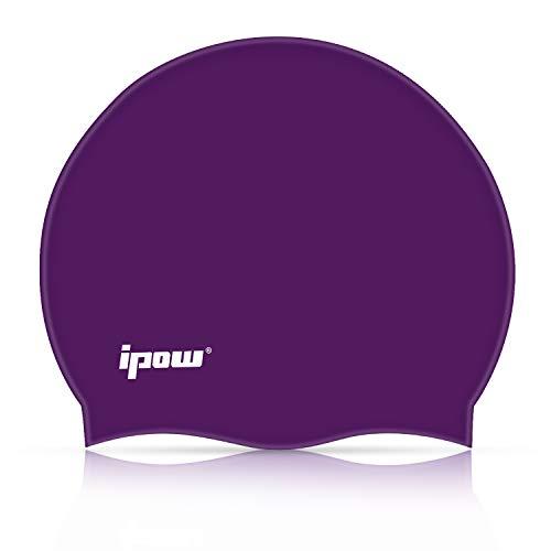 IPOW Hochwertige Silikon Badekappe Bademütze Badehaube für Lange Haare gesund und warm Swim Cap 6 Farbe (Violett Klassisch)