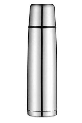alfi Isolierflasche Edelstahl isoTherm Perfect, Edelstahl mattiert 1L, Thermosflasche mit Trinkbecher 5107.205.100 dicht, spülmaschinenfest, Thermoskanne 12 Stunden heiß, 24 Stunden kalt, BPA-Free