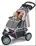 "InnoPet Hundebuggy Pet Stroller Hundewagen Jogger Buggy für Hunde Katzenbuggy ""First-Class"" Wagen für Hunde rosa grau pink klappbar"