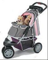 InnoPet Hundebuggy Pet Stroller Hundewagen Jogger Buggy für Hunde Katzenbuggy 'First-Class' Wagen für Hunde rosa grau pink klappbar