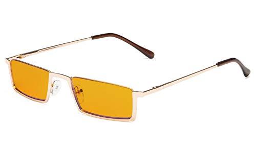 Eyekepper Kwaliteit Spring scharnieren halve rand oranje getinte lenzen computer leesbril +2.25 Gouden frame-bb98 lens