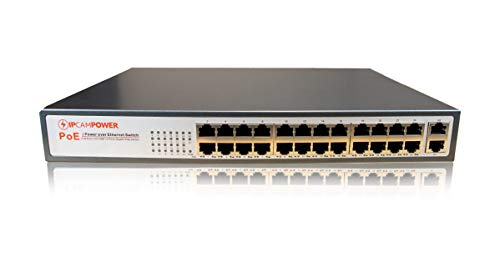 IPCamPower 24 Port POE Network Switch W/ 2 Gigabit Uplink Ports   Designed for IP Cameras   POE+ Capable of Pushing 30 Watts per Port   250 Watts Total Budget