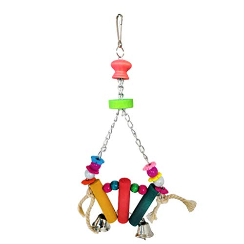 TEHAUX Rasgón de aves - Sector de pájaros en forma de columpio de pie loro molienda juguetes masticables accesorios jaula de loro juguetes creativos pájaros para loro